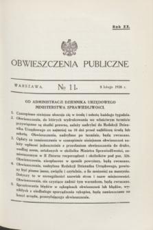Obwieszczenia Publiczne. R.20, № 11 (8 lutego 1936)