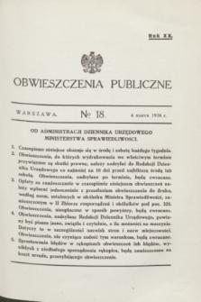Obwieszczenia Publiczne. R.20, № 18 (4 marca 1936)