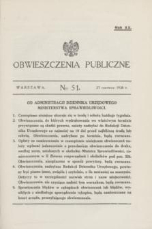 Obwieszczenia Publiczne. R.20, № 51 (27 czerwca 1936)