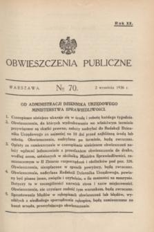 Obwieszczenia Publiczne. R.20, № 70 (2 września 1936)