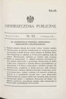 Obwieszczenia Publiczne. R.20, № 93 (21 listopada 1936)