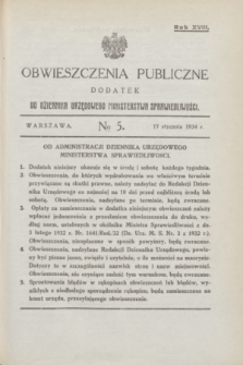 Obwieszczenia Publiczne : dodatek do Dziennika Urzędowego Ministerstwa Sprawiedliwości. R.18, № 5 (17 stycznia 1934)