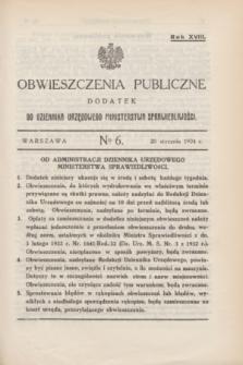Obwieszczenia Publiczne : dodatek do Dziennika Urzędowego Ministerstwa Sprawiedliwości. R.18, № 6 (20 stycznia 1934)