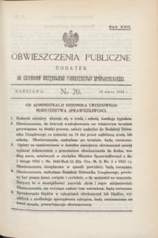 Obwieszczenia Publiczne : dodatek do Dziennika Urzędowego Ministerstwa Sprawiedliwości. R.18, № 20 (10 marca 1934)