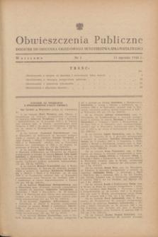 Obwieszczenia Publiczne : dodatek do Dziennika Urzędowego Ministerstwa Sprawiedliwości. 1948, nr 2 (15 stycznia)