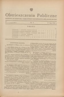 Obwieszczenia Publiczne : dodatek do Dziennika Urzędowego Ministerstwa Sprawiedliwości. 1948, nr 8 (25 lutego)