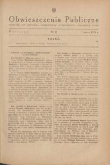 Obwieszczenia Publiczne : dodatek do Dziennika Urzędowego Ministerstwa Sprawiedliwości. 1948, nr 11 (1 marca)