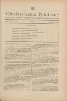 Obwieszczenia Publiczne : dodatek do Dziennika Urzędowego Ministerstwa Sprawiedliwości. 1948, nr 15 (9 marca)