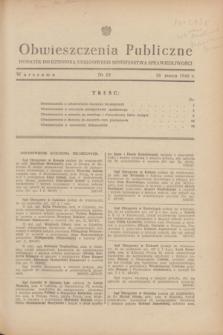 Obwieszczenia Publiczne : dodatek do Dziennika Urzędowego Ministerstwa Sprawiedliwości. 1948, nr 19 (18 marca)