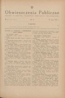 Obwieszczenia Publiczne : dodatek do Dziennika Urzędowego Ministerstwa Sprawiedliwości. 1948, nr 29 (26 maja)