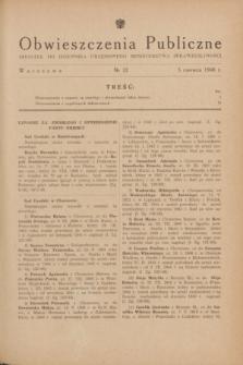 Obwieszczenia Publiczne : dodatek do Dziennika Urzędowego Ministerstwa Sprawiedliwości. 1948, nr 32 (3 czerwca)