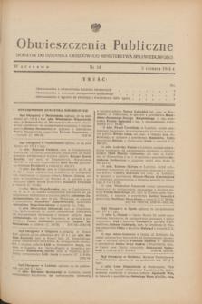 Obwieszczenia Publiczne : dodatek do Dziennika Urzędowego Ministerstwa Sprawiedliwości. 1948, nr 34 (5 czerwca)