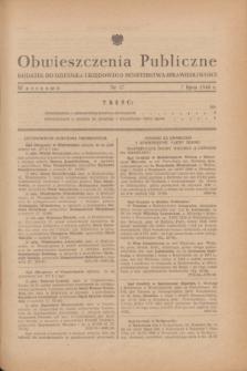 Obwieszczenia Publiczne : dodatek do Dziennika Urzędowego Ministerstwa Sprawiedliwości. 1948, nr 37 (7 lipca)