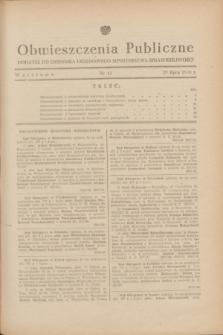Obwieszczenia Publiczne : dodatek do Dziennika Urzędowego Ministerstwa Sprawiedliwości. 1948, nr 41 (29 lipca)