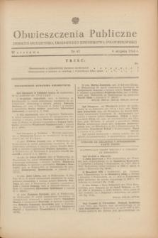 Obwieszczenia Publiczne : dodatek do Dziennika Urzędowego Ministerstwa Sprawiedliwości. 1948, nr 42 (4 sierpnia)