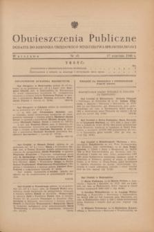 Obwieszczenia Publiczne : dodatek do Dziennika Urzędowego Ministerstwa Sprawiedliwości. 1948, nr 45 (17 września)