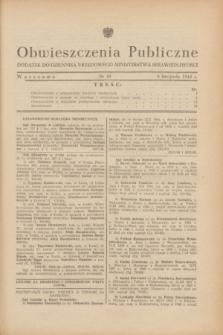 Obwieszczenia Publiczne : dodatek do Dziennika Urzędowego Ministerstwa Sprawiedliwości. 1948, nr 49 (8 listopada)