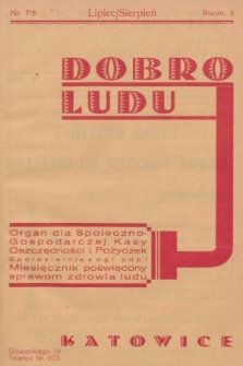 Dobro Ludu : miesięcznik poświęcony sprawom zdrowia ludu. 1933, nr7/8 |PDF|