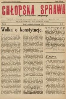 Chłopska Sprawa : organ Stronnictwa Chłopskiego : tygodnik poświęcony sprawom politycznym, oświatowym i gospodarczym. 1929, nr7  PDF 