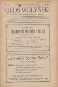 Głos Wołyński : wychodzi raz na tydzień.R.1, nr 3 (22 października 1921)