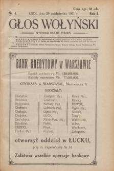 Głos Wołyński : wychodzi raz na tydzień.R.1, nr 4 (29 października 1921)