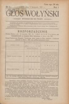 Głos Wołyński : wychodzi raz na tydzień.R.1, nr 5 (5 listopada 1921)