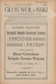 Głos Wołyński : wychodzi raz na tydzień.R.1, nr 7 (19 listopada 1921)