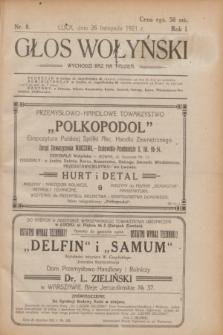 Głos Wołyński : wychodzi raz na tydzień.R.1, nr 8 (26 listopada 1921)