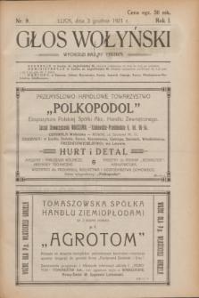 Głos Wołyński : wychodzi raz na tydzień.R.1, nr 9 (3 grudnia 1921)