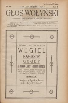 Głos Wołyński : wychodzi raz na tydzień.R.1, nr 11 (18 grudnia 1921)