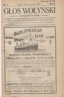 Głos Wołyński : wychodzi raz na tydzień : [czasopismo polityczno-społeczne i literackie].R.2, nr 2 (8 stycznia 1922)