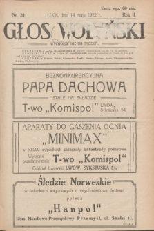 Głos Wołyński : wychodzi raz na tydzień : [czasopismo polityczno-społeczne i literackie].R.2, nr 20 (14 maja 1922)