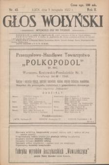 Głos Wołyński : wychodzi raz na tydzień : [czasopismo polityczno-społeczne i literackie].R.2, nr 43 (5 listopada 1922)