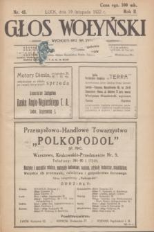 Głos Wołyński : wychodzi raz na tydzień : [czasopismo polityczno-społeczne i literackie].R.2, nr 45 (19 listopada 1922)