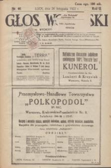 Głos Wołyński : wychodzi raz na tydzień : [czasopismo polityczno-społeczne i literackie].R.2, nr 46 (26 listopada 1922)