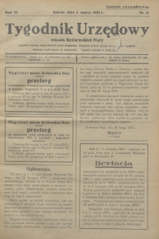 Tygodnik Urzędowy miasta Królewskiej Huty.R.32, nr 9 (5 marca 1932)