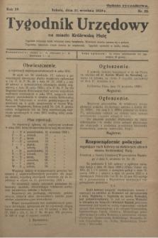 Tygodnik Urzędowy na Miasto Królewską Hutę.R.29, nr 38 (21 września 1929)
