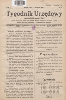 Tygodnik Urzędowy miasta Królewskiej Huty.R.33, nr 1 (7 stycznia 1933)