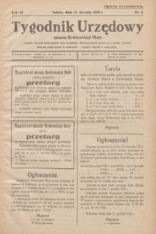 Tygodnik Urzędowy miasta Królewskiej Huty.R.33, nr 2 (14 stycznia 1933)