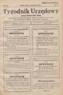 Tygodnik Urzędowy miasta Królewskiej Huty.R.33, nr 12 (8 kwietnia 1933)