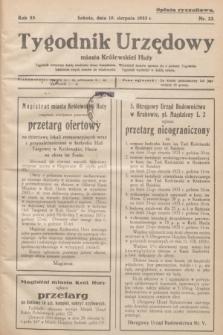 Tygodnik Urzędowy miasta Królewskiej Huty.R.33, nr 22 (19 sierpnia 1933)