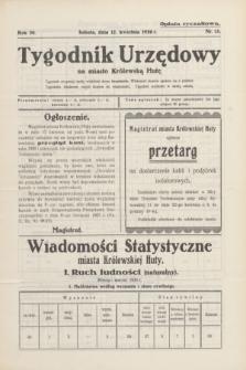 Tygodnik Urzędowy na miasto Królewską Hutę.R.30, nr 15 (12 kwietnia 1930)