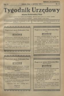 Tygodnik Urzędowy miasta Królewskiej Huty.R.31, nr 13 (4 kwietnia 1931)