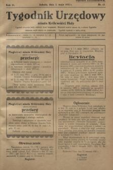 Tygodnik Urzędowy miasta Królewskiej Huty.R.31, nr 17 (2 maja 1931)
