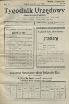 Tygodnik Urzędowy miasta Królewskiej Huty.R.31, nr 19 (16 maja 1931)