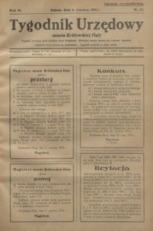 Tygodnik Urzędowy miasta Królewskiej Huty.R.31, nr 22 (6 czerwca 1931)