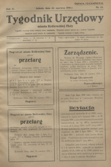 Tygodnik Urzędowy miasta Królewskiej Huty.R.31, nr 25 (27 czerwca 1931)