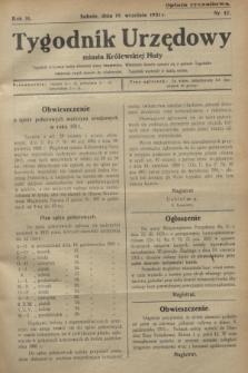 Tygodnik Urzędowy miasta Królewskiej Huty.R.31, nr 37 (19 września 1931)