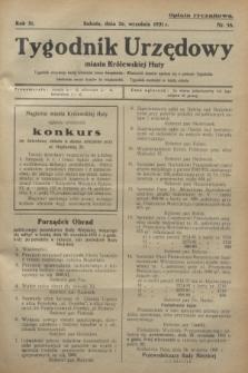 Tygodnik Urzędowy miasta Królewskiej Huty.R.31, nr 38 (26 września 1931)