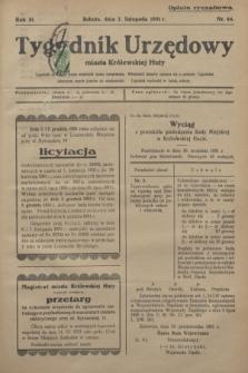 Tygodnik Urzędowy miasta Królewskiej Huty.R.31, nr 44 (7 listopada 1931)